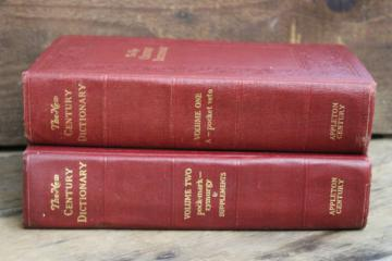 1940s vintage two volume dictionary, big books w/ old red & gold covers