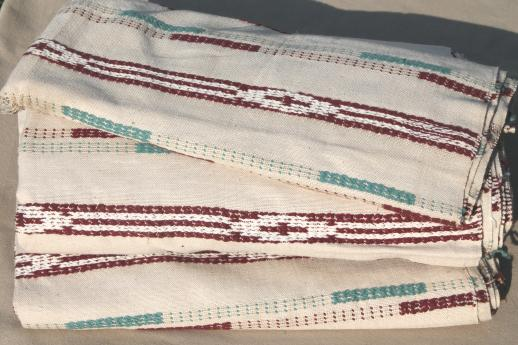 1940s Vintage Upholstery Fabric Indian Blanket Woven