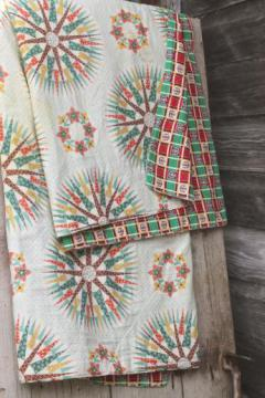 1940s vintage whole cloth quilt, star patchwork print cotton bedspread in southwest colors