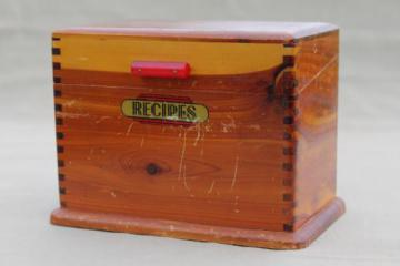 1940s vintage wood recipe box, cedar chest recipe card file w/ red bakelite handle