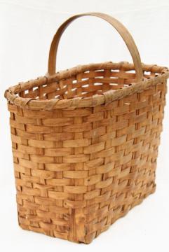 1940s vintage wood splint market basket, rustic primitive handmade basket