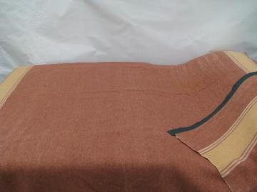1940s vintage wool or rayon / cotton camp blanket