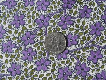 1940s-50s vintage cotton print fabric, tiny lavender purple flowers