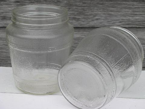 1940s-50s vintage glass barrel style jars, old kitchen canisters lot