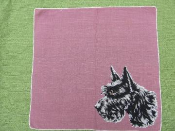 1940s-50s vintage hanky, Scotty dog print cotton handkerchief