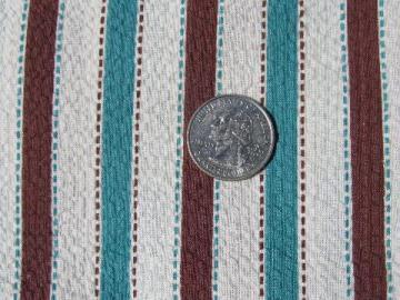 1940s-50s vintage light cotton pique fabric, brown & aqua stripe