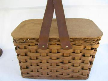 1940s-50s vintage picnic basket, hamper w/ soft faux leather handles