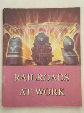 1945 Railroads at the Work trains & train engines booklet, steampunk vintage photos