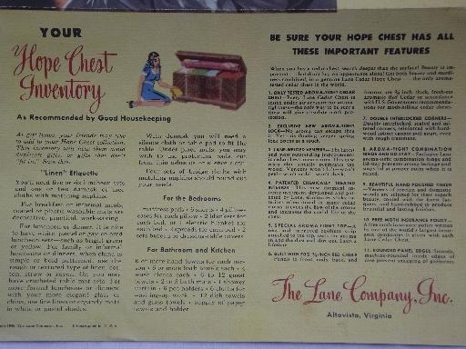 1948 color Lane furniture advertising leaflet, cedar hope chest styles