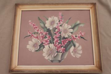 1950 de Jonge floral print still life flowers framed picture, vintage cottage chic