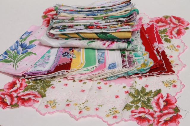 1950s 60s vintage flowered hankies, cotton print handkerchiefs, pretty printed florals