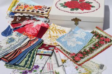 1950s 60s vintage flowered hankies, printed cotton handkerchiefs in rose print hanky box