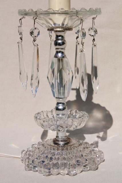 1950s 60s Vintage Glass Boudoir Lamps W Crystal Prisms
