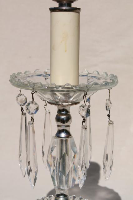 1950s 60s vintage glass boudoir lamps w/ crystal prisms, vanity table or dresser lamp set