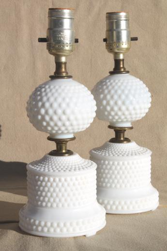 1950s 60s Vintage Milk Glass Lamps Pair Of Hobnail Glass