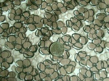 1950s - 60s vintage sheer fine cotton fabric, floral in brown / black / white