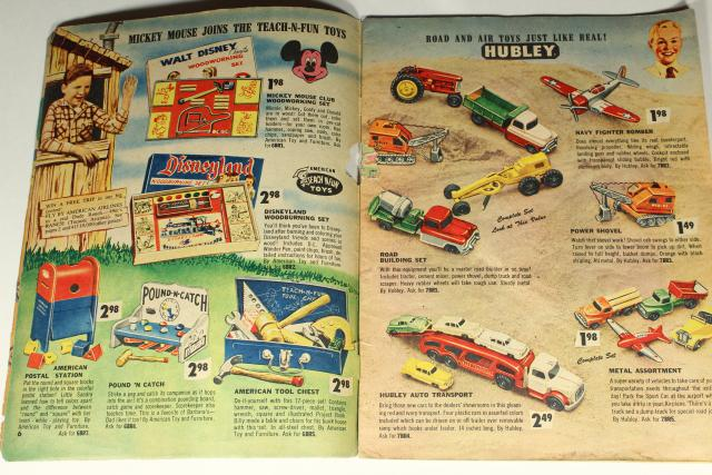 1950s Christmas toy wish book catalog,       Billy & Ruth top 1956 toys games trucks etc