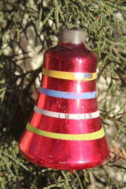 1950s christmas tree ornaments painted glass bells shiny brite vintage - Christmas Tree Bell Decoration