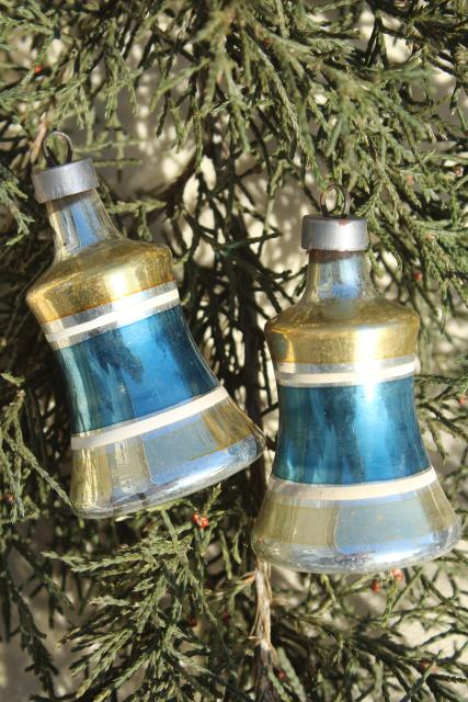 1950s Christmas tree ornaments, painted glass bells Shiny Brite vintage