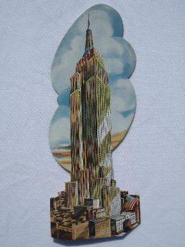 1950s Max Poschin die-cut postcard, vintage Empire State building card