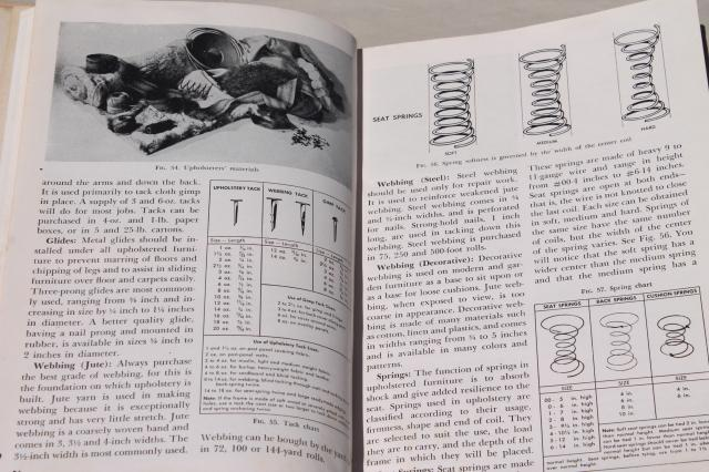 1950s Popular Mechanics hand book All About Upholstering, mid-century modern furniture designs