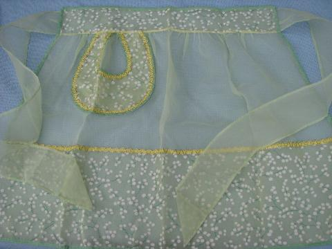 1950s apron lot, sheer hostess aprons, vintage flowered cotton prints