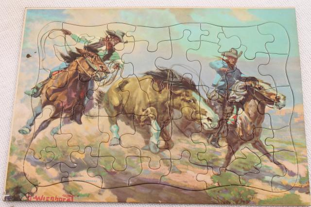 1950s cowboy photo / art jigsaw puzzles, complete vintage children's tray puzzles