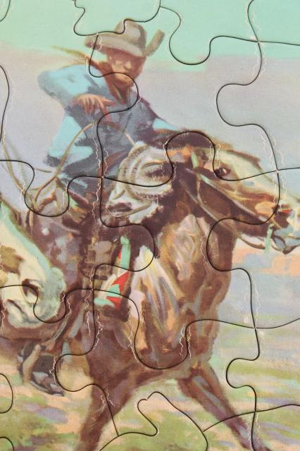 1950s Cowboy Photo Art Jigsaw Puzzles Complete Vintage Childrens Tray