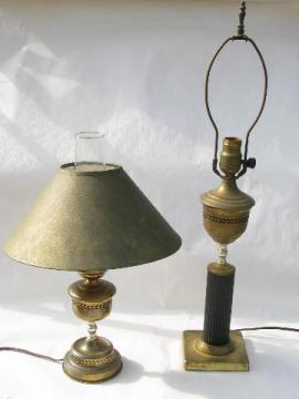 1950s mid-century vintage brass desk & library table lamps