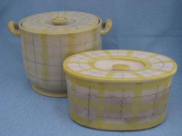 1950s plaid kitchenware, ceramic cookie jar, covered dish or fridge box
