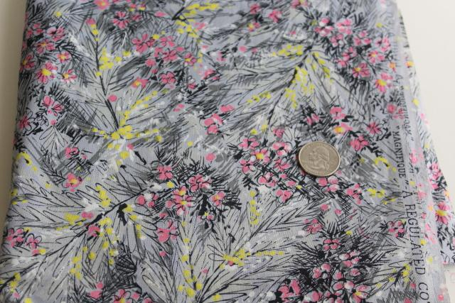 1950s regulated cotton fabric 'painted' floral print on grey, original tag