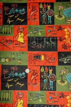 1950s vintage 36 wide cotton fabric, African tribal scenes stylized mid-century print