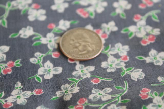1950s vintage 36 wide cotton fabric, cherry blossom print on charcoal grey