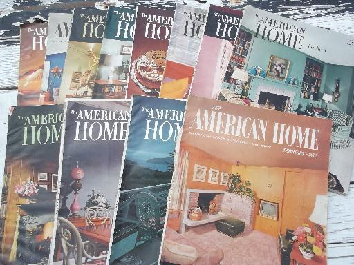 1950s vintage American Home decorating magazines lot, 12 back issues
