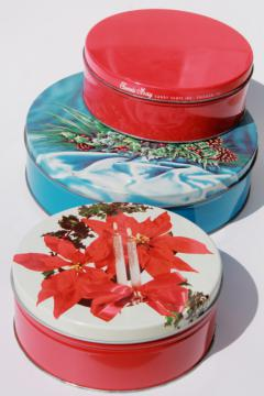 1950s vintage Christmas tins for candy & cookies w/ retro holiday designs