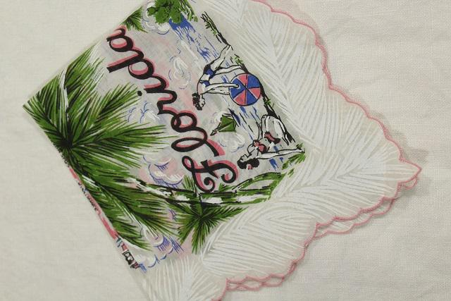 1950s vintage Florida map print hanky, printed cotton handkerchief