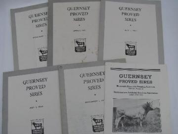 1950s vintage Guernsey sire pedigree catalogs, early AI breeding bulls, ABS