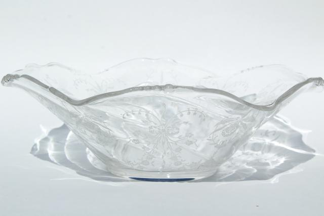 1950s vintage Heisey orchid etched glass, large flower bowl fruit centerpiece crimped shape