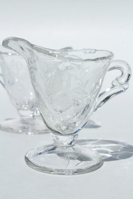 1950s Vintage Heisey Orchid Etched Glass Mini Cream