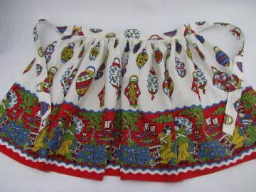 1950s vintage Japanese garden cotton print half apron
