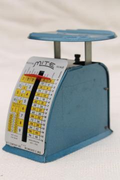 1950s vintage MITE postage meter scale, industrial metal retro machine age office desk