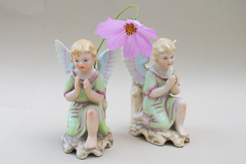 1950s vintage Napco Japan angel vases pair, cherubs or little children praying