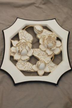 1950s vintage New Arts Studio chalkware, framed flowers chalkware wall art