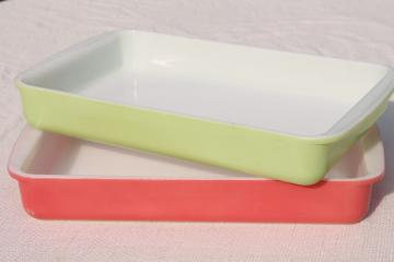 1950s vintage Pyrex 232 lime green & flamingo pink large rectangle baking pans