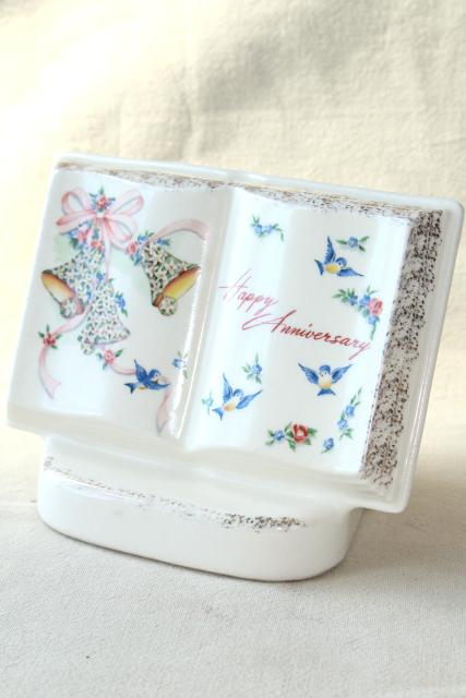 1950s vintage Royal Windsor book shaped planter vase, Happy Anniversary gift