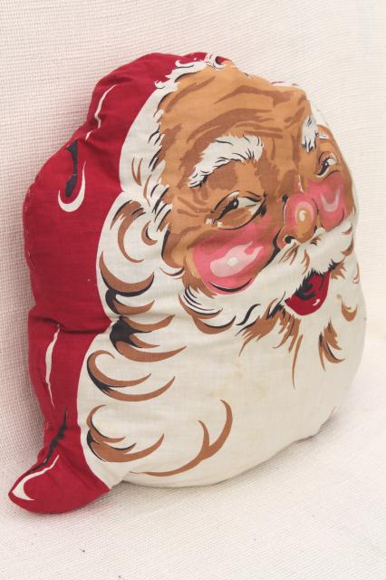 1950s vintage santa face pillow retro christmas decoration holiday print cotton cushion - Vintage Christmas Decorations 1950s