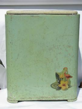 1950's vintage aluminum clothes hamper for laundry, jadite green w/ decal