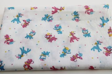 1950s vintage baby animals print cotton fabric remnant, nice for doll clothes