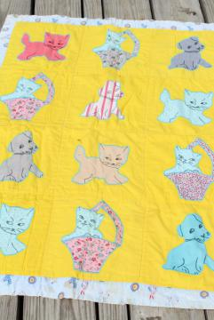 1950s vintage baby quilt, cotton applique crib blanket w/ kittens and cats