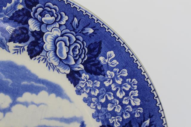 1950s vintage blue & white transferware plate, souvenir of Mt Vernon George Washington's home